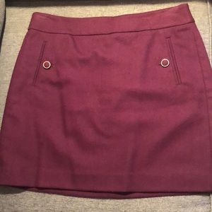 LOFT Burgundy Mini Skirt